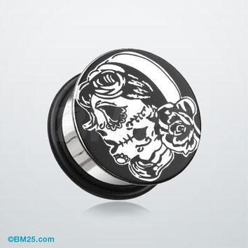 A Pair of Single Flared Steel Day of the Dead Gypsy Sugar Skull Flat Top Hollow Plug