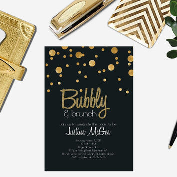 Printable Black and Gold Champagne Brunch bridal shower Invitation