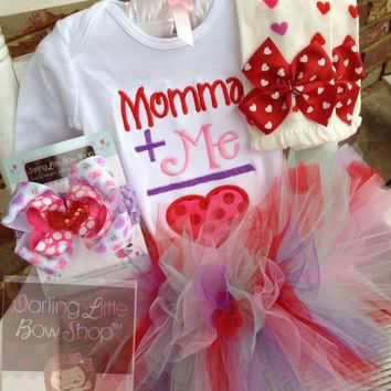 Baby Girl Valentines Day tutu outfit with bodysuit, tutu bow and leg warmers - Momma's
