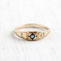 Antique Art Deco Gold Filled Baby Ring- Vintage 1920s Turquoise Blue Center Size 2 1/4 Jewelry
