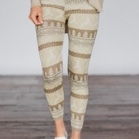 Prancing through the Snow ~ Tan Holiday Leggings