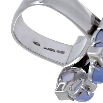 Alfieri & St. John Womens 18k White Gold Diamond and Blue Chalcedony Ring