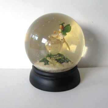 Vintage Fairy Snow Globe, Peter Pan, Tinker Bell,  Home and LIving, Home Decor, kids, collectible