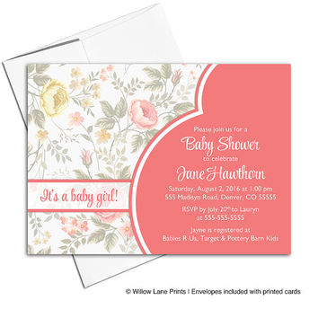Floral baby shower invite girls | Coral baby shower invitations | DIY printable or printed - WLP00713
