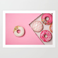 Birthday Collection: Pink Donuts Art Print, Doughnut Art Print, Donut Wall Art, Donut Gift, Dessert Art Print, Bakery Art Print, Bakery Art