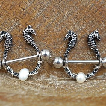 Pearl and Seahorse Nipple Shields