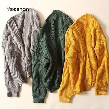 Yeeshan Crochet Jumper Women Twisted Cardigan Female Long Sleeves Yellow Green Grey Women's Sweaters Knitted Sweater Cardigan