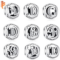 Authentic 925 Sterling Silver Jewelry Crystal Alphabet A-Z Letter Charms Fit Pandora Bracelet Bangle DIY Original Jewelry Making