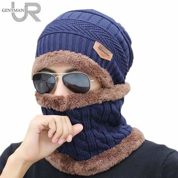 Unisex Knitted Hat And Neck Warmer Collar Fashion Artificial Fur Winter Hat For Women And Men Warm Acrylic Beanies