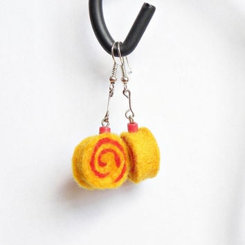 Earrings - unique felted rolls no 65, felt earrings, sushi roll earrings, very light, colorful earrings, unique pattern, handmade gift