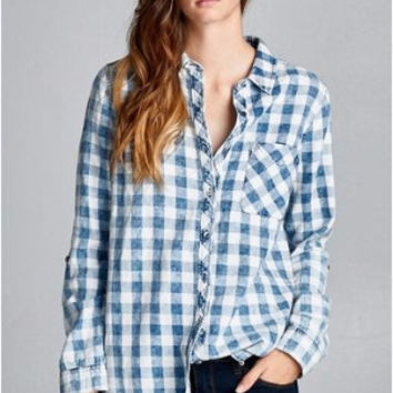 Country Gingham Plaid at Home Shirt - Staccato- Denim Wash