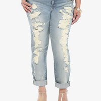 Torrid Premium Boyfriend Jean - Light Wash with Destruction