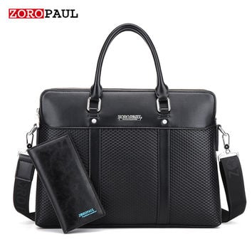 ZOROPAUL NEW 2017 Black Tote Men's Fashion Male Set Business Handbags for Man High Quality Designer Bag PU leather Briefcase
