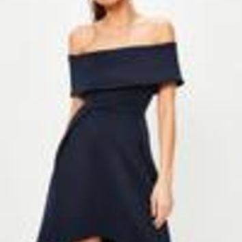 Missguided - Navy Scuba Bardot Skater Dress