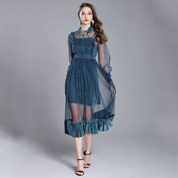 Fashion  perspective sexy dress two piece Vintage Evening Party