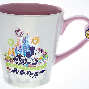 Disney Parks 45th Anniversary Magic Kingdom White Ceramic Coffee Mug New