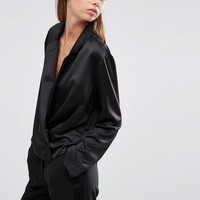 ASOS Wrap Blouse with Collar in Satin at asos.com