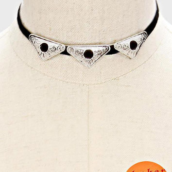 "14"" black silver triple floral charm choker faux suede collar necklace"