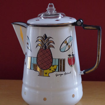 Vintage 1950s Georges Briard Ambrosia Enamel Coffee Pot Percolator
