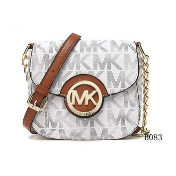 DCCK Michael Kors MK Leather Chain Crossbody Shoulder Bag Satchel WHITE