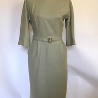 Vintage 1950s Wool Dress Miss Brett Sage Green Fitted Sheath 3/4 Length Sleeves Fabric Belt Metal Zipper 50s Mid Century Dress