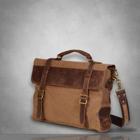 New Genuine Leather and Canvas Messenger Bag laptop tablet A4 documents postman travel business casual school Grey briefcase