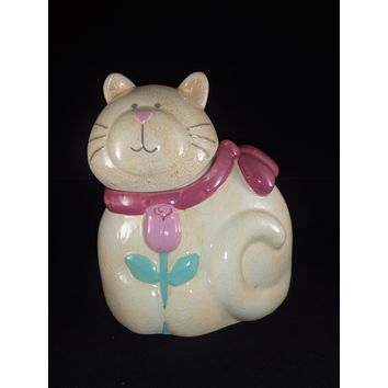 Cat Cookie Jar With Pink Rose
