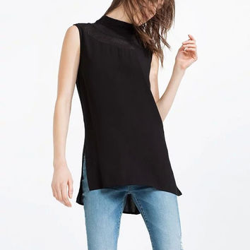 Black Sleeveless Turtleneck Side Slit zipper Chiffon Top