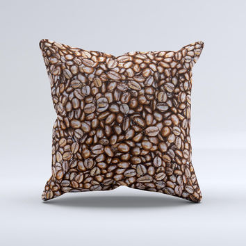 Coffee Beans Ink-Fuzed Decorative Throw Pillow