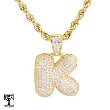 "Jewelry Kay style K Initial Custom Bubble Letter Gold Plated Iced CZ Pendant 24"" Chain Necklace"