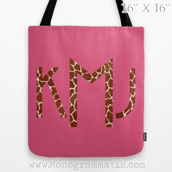 "Monogram/Personalized ""Birgitte in Pink"" Custom Tote Bag 16x16 Fancy Decor Initials Name Hot Pink Black Neon Giraffe Spots Animal Print Wild"