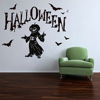 Wall Decals Halloween Pumpkin Bats Decal Vinyl Sticker Home Art Bedroom Home Decor Art Mutal Room Decor Wall Art Halloween Party Decor MS607