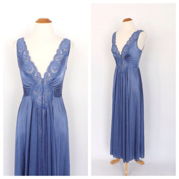 Vintage 1970s does 1940s Olga Night Gown Lapis Blue Nightgown 70s Lingerie Glam Pin Up Boudoir Fashion Gown 20s Art Deco Wedding Night Small