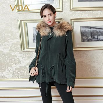 VOA 2017 Fall Winter Dark Green Silk Hooded Jacket Brief Solid Casual Fur Heavy Coat Plus Size Long Sleeve Women Parka M3262