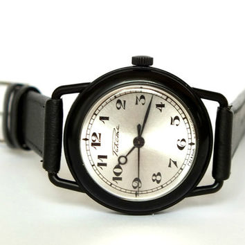 Black watch Raketa for men. Vintage mechanical unisex wrist watch. NOS men's, womens watch with certificate. Retro style watch. Gift for him