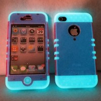 Iphone 4 4s Case Ishield Hybrid Snap on Glow in the Dark with Transparent Pink