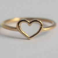 Gold Vermeil Heart Ring, 22 ct. 3 micron Gold Plated 925 sterling silver, Romantic Bridesmaid gift, Friendship ring. Statement coktail ring