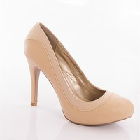Qupid Hitting The Shops Textured Almond Toe Stiletto Pumps - Beige