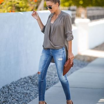 Got You Covered Drape Front Layered Blouse - Herb