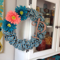 Turquoise and Coral Chevron Burlap Wreath