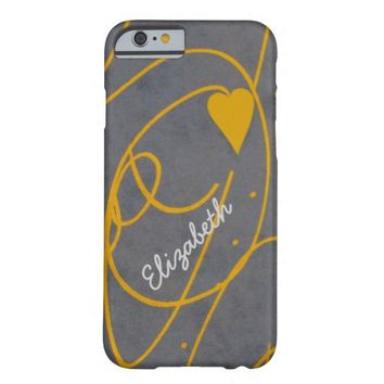 personalize it heart yellow and gray abstract art barely there iPhone 6 case