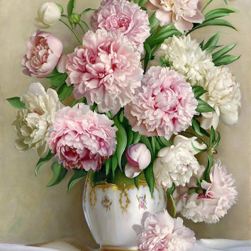 Full diamond embroidery diamond mosaic gift Needlework cross stitch Pink peony vase picture home decor diy 5d diamond painting