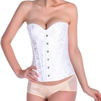 Pink Classic Palace Without Lace Corset White Simple Single-Breasted Wedding Corset Reveal Ribbon Strap Wrapped Chest Vest