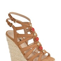 Women's GUESS 'Onixx' Snake Embossed Leather Wedge Sandal,