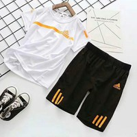 Adidas Girls Boys Children Baby Toddler Kids Child Fashion Casual Shirt Top Tee Shorts Two Piece Set
