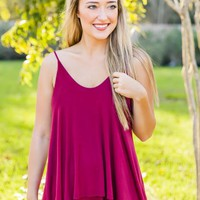 Move Right Along Tank- Burgundy - NEW ARRIVALS