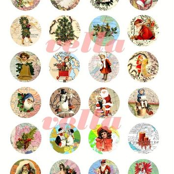 Christmas around the world Vintage clip art maps santa clause children winter collage sheet 1.5 INCH circles