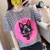 """Gucci"" Women Personality GG Letter Dog Head Pattern Print Short Sleeve T-shirt Top Tee"