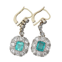 2.56 Carat Emerald and 1.65 Carat Diamond Gold Drop Earrings