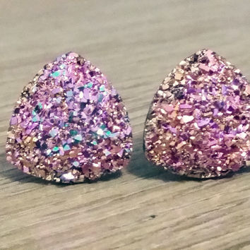 Druzy earrings-  Triangle iridescent Magenta rainbow druzy earrings